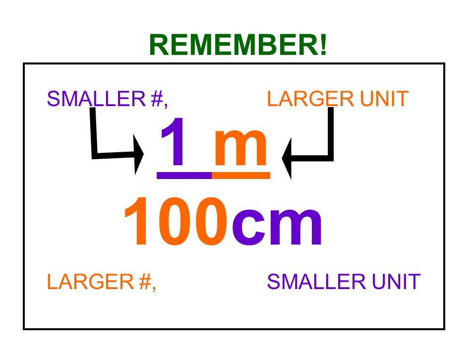 REMEMBER! SMALLER #, LARGER UNIT LARGER #, SMALLER UNIT 1 m 100cm