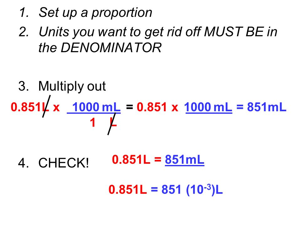 Units you want to get rid off MUST BE in the DENOMINATOR