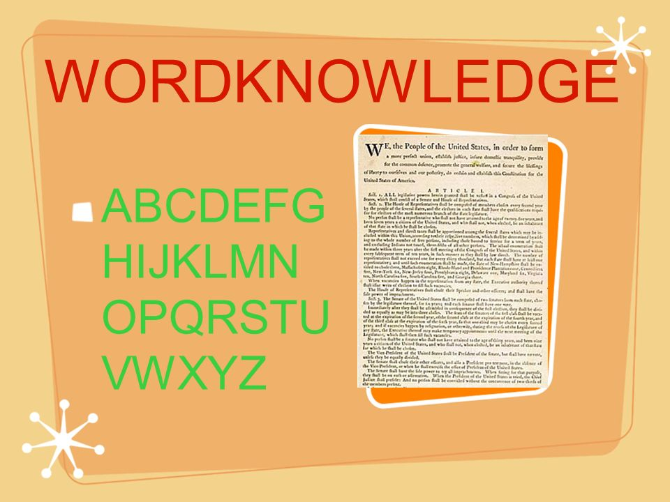 WORDKNOWLEDGE ABCDEFG HIJKLMN OPQRSTU VWXYZ