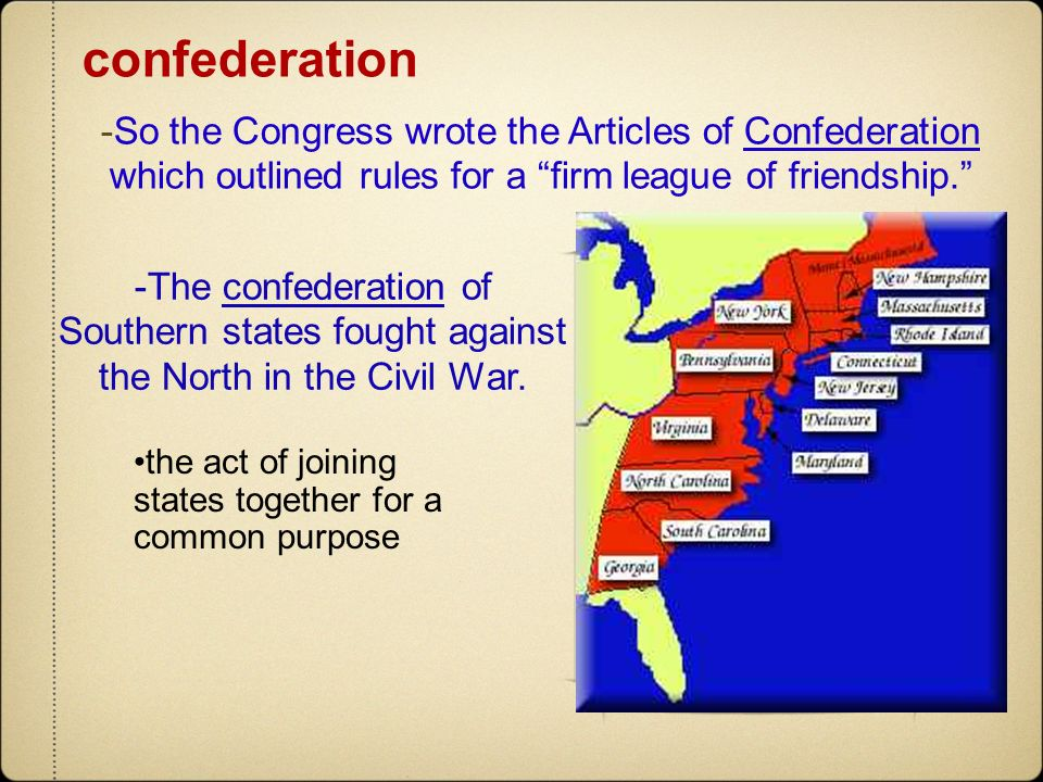 confederation -So the Congress wrote the Articles of Confederation