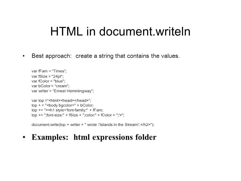 HTML in document.writeln