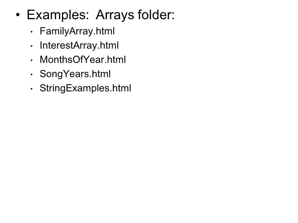 Examples: Arrays folder: