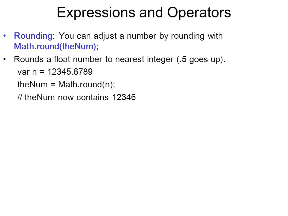 Expressions and Operators
