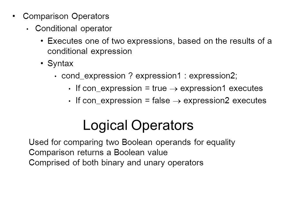 Logical Operators Comparison Operators Conditional operator