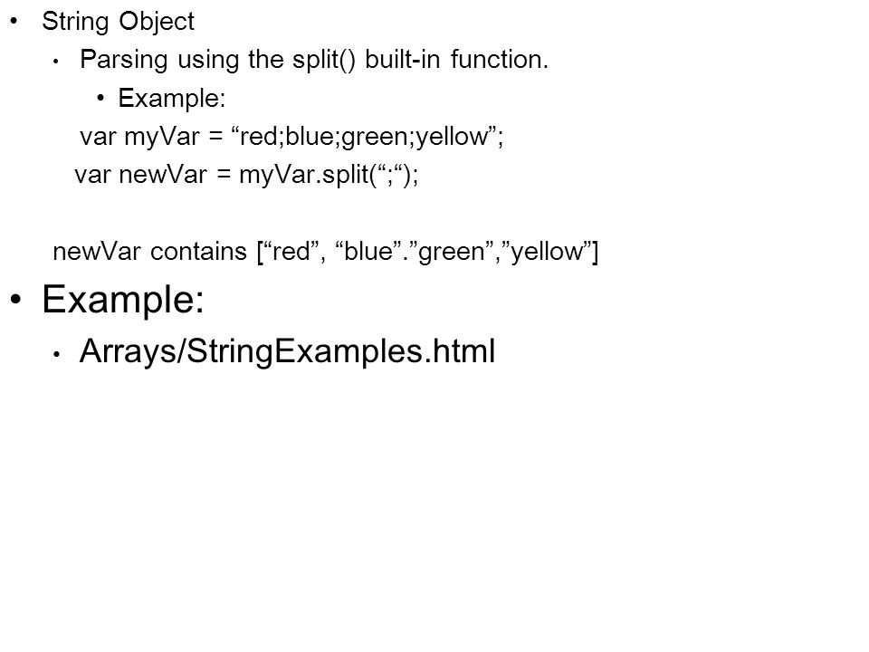Arrays/StringExamples.html String Object