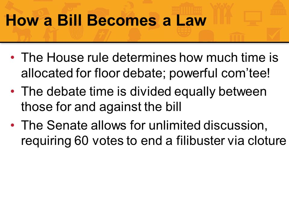 How a Bill Becomes a Law The House rule determines how much time is allocated for floor debate; powerful com'tee!