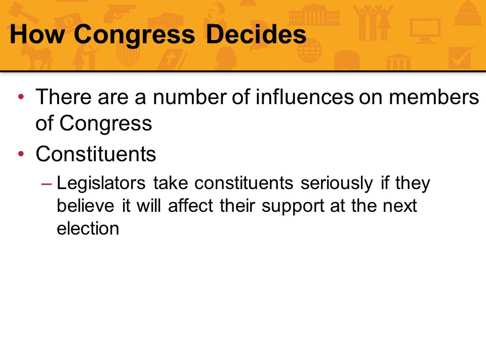 How Congress Decides There are a number of influences on members of Congress. Constituents.
