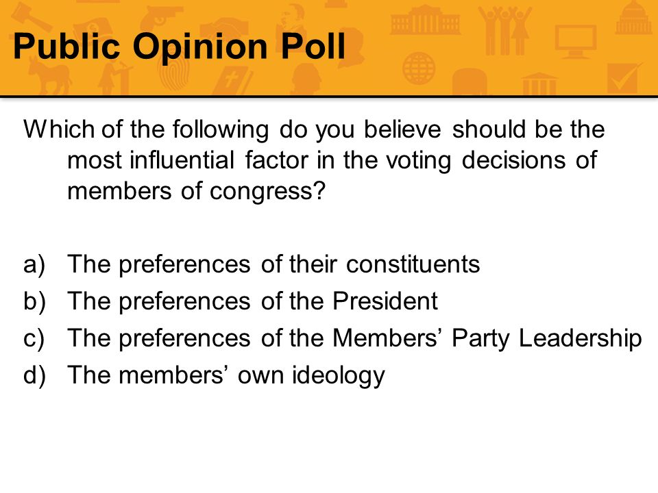 Public Opinion Poll Which of the following do you believe should be the most influential factor in the voting decisions of members of congress