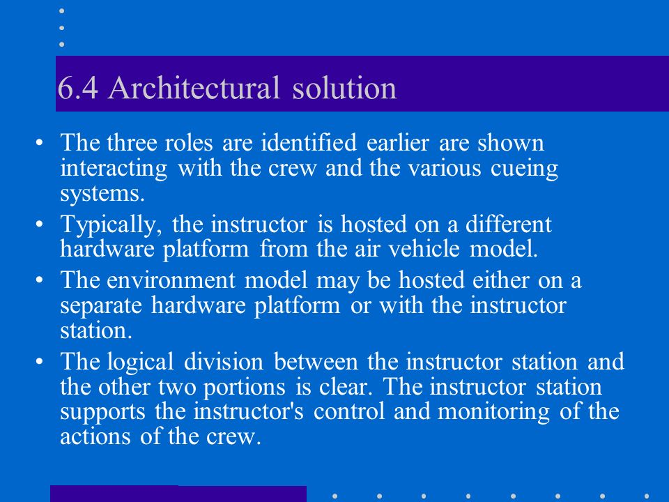 6.4 Architectural solution