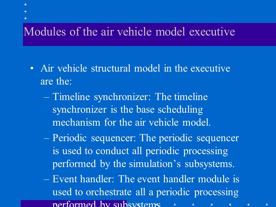 Modules of the air vehicle model executive
