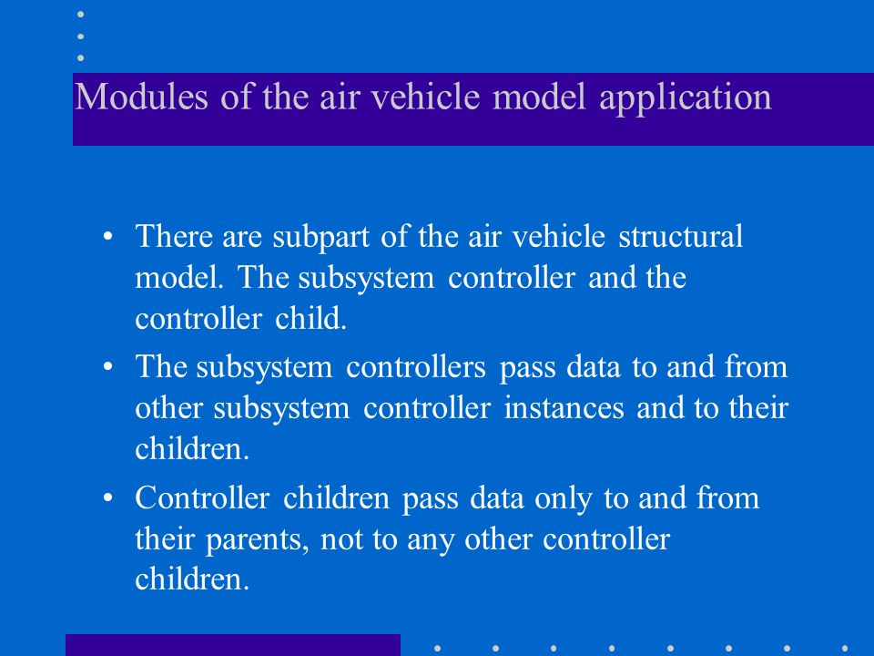 Modules of the air vehicle model application