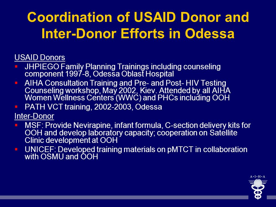 Coordination of USAID Donor and Inter-Donor Efforts in Odessa