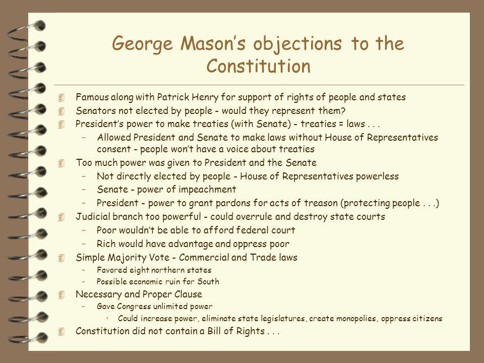 George Mason's objections to the Constitution