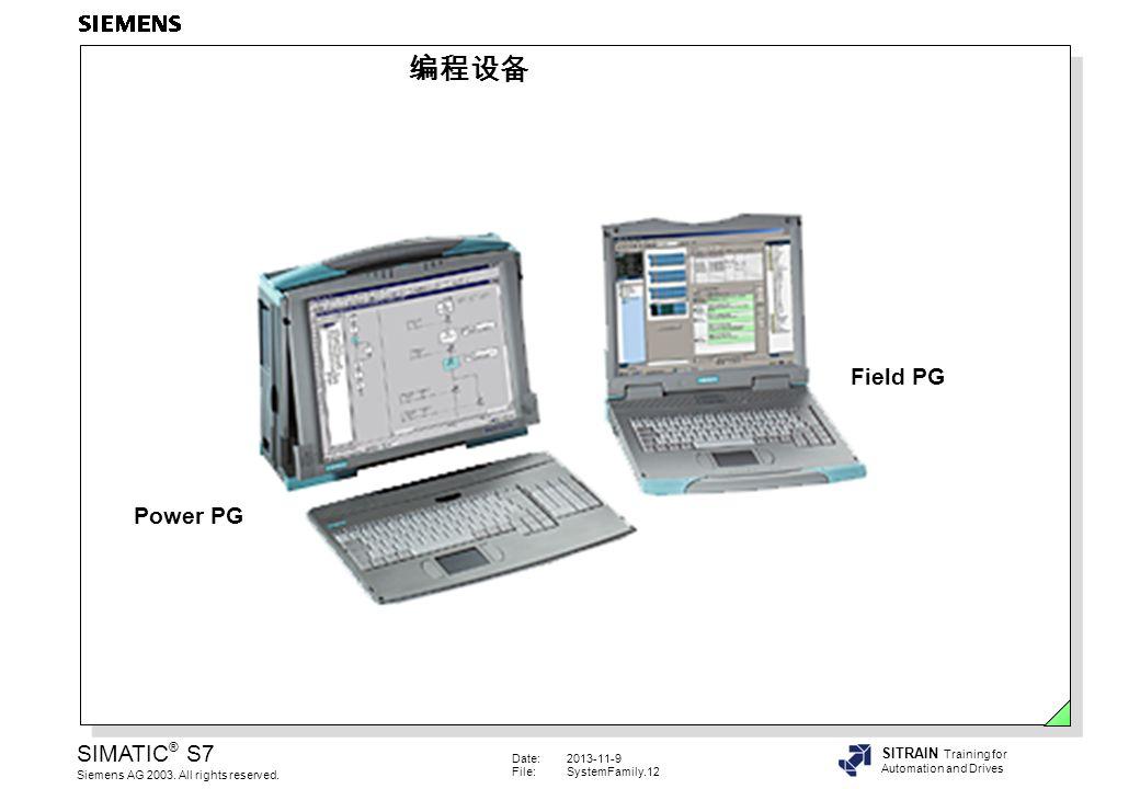 编程设备 Field PG. Power PG. Field PG 是工业级的编程设备, Field PG功能强大且易于使用,不仅可以用于维护和服 务,而且可以用于编程和组态设备,是工业现场应用的理想工具。