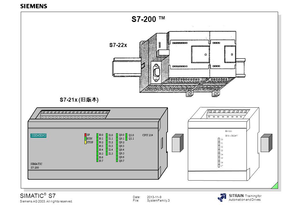 S7-200 ™ S7-22x S7-21x (旧版本) 特性 • 针对低性能要求的模块化的小型控制系统 , • 不同档次的CPU,