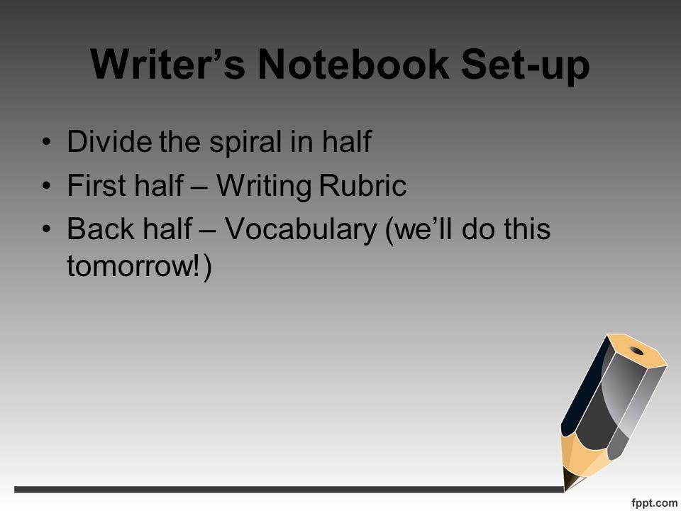 Writer's Notebook Set-up
