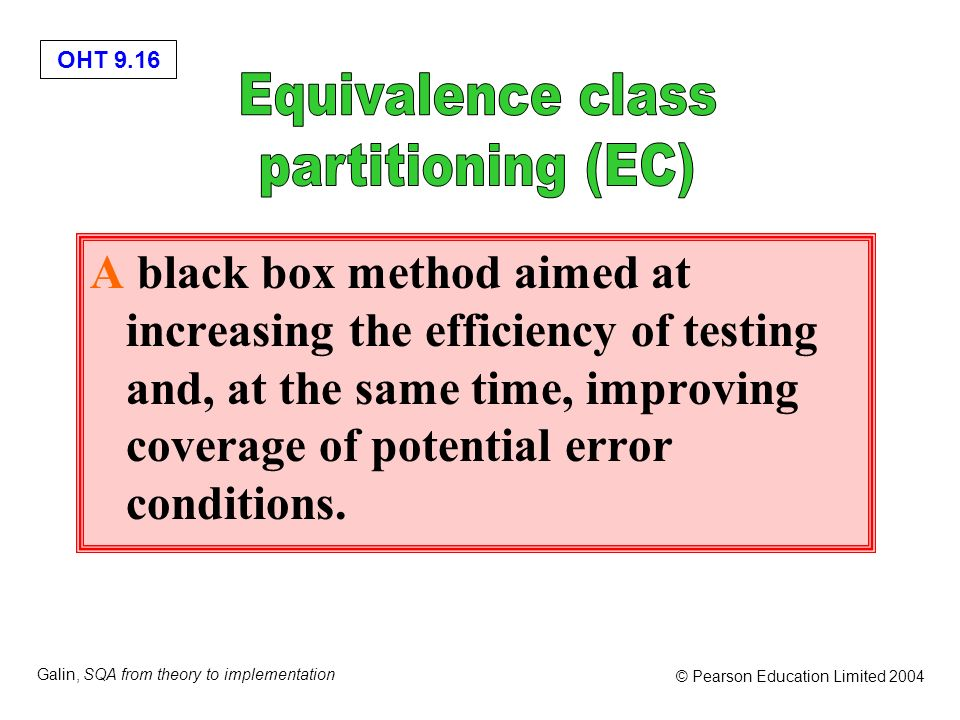 Equivalence class partitioning (EC)