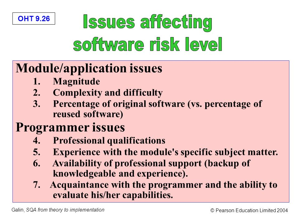 Issues affecting software risk level Module/application issues
