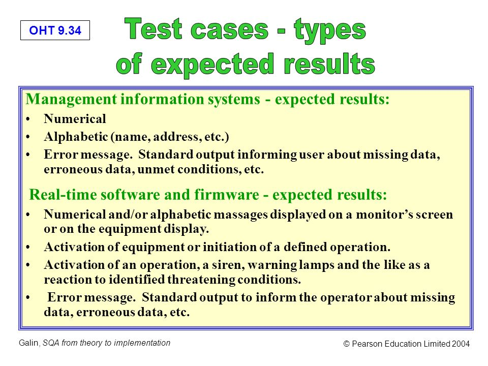 Test cases - types of expected results