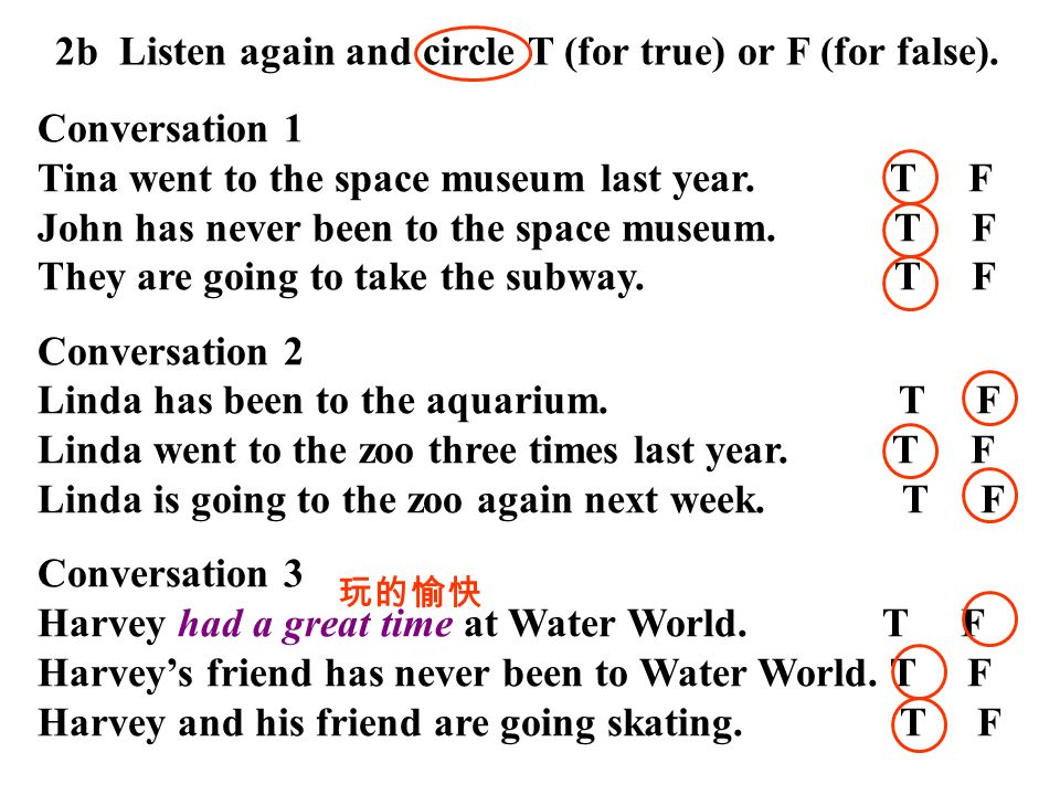 2b Listen again and circle T (for true) or F (for false).