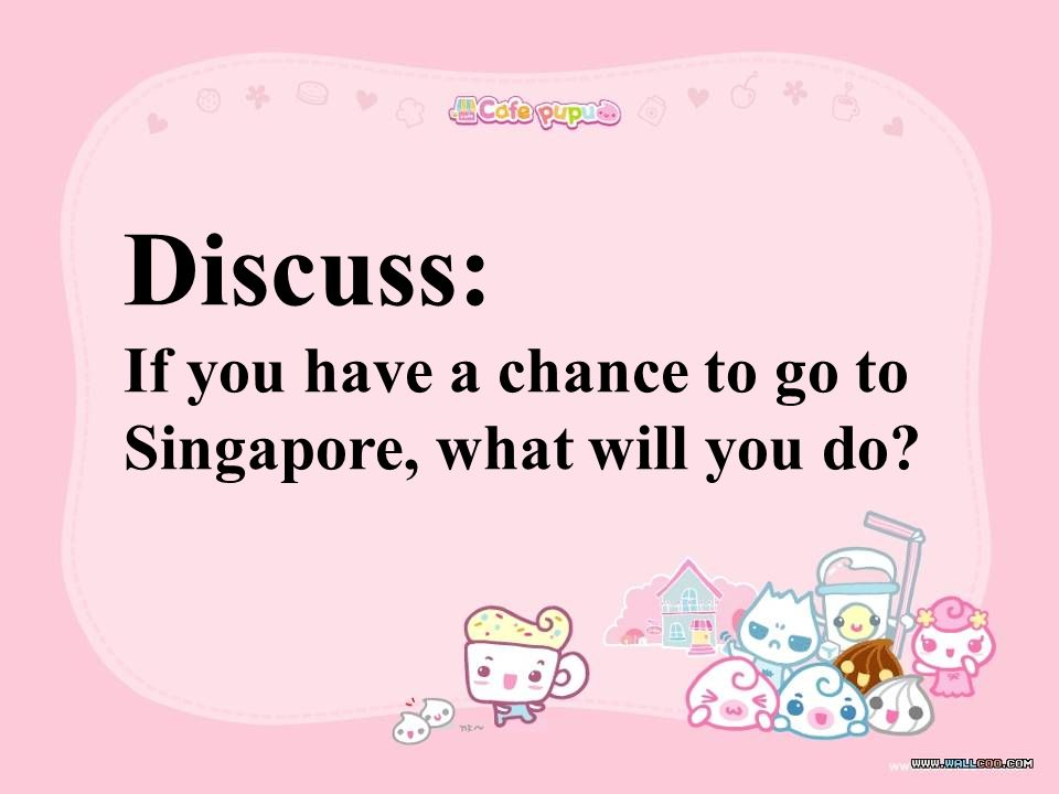 Discuss: If you have a chance to go to Singapore, what will you do