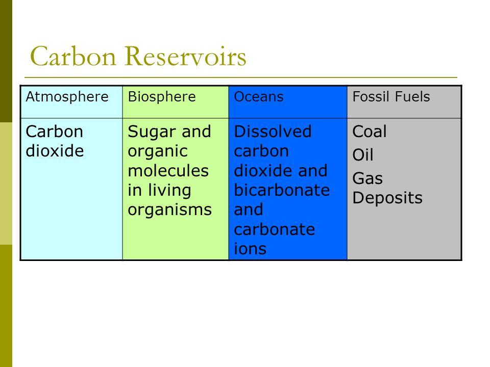 Carbon Reservoirs Carbon dioxide