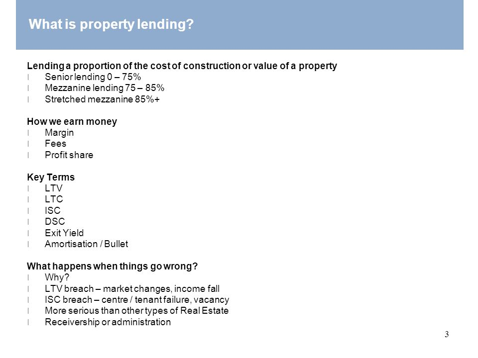 What is property lending