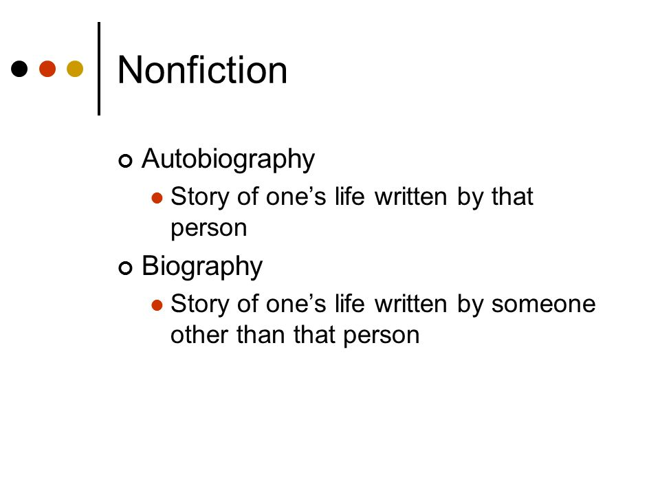 Nonfiction Autobiography Biography