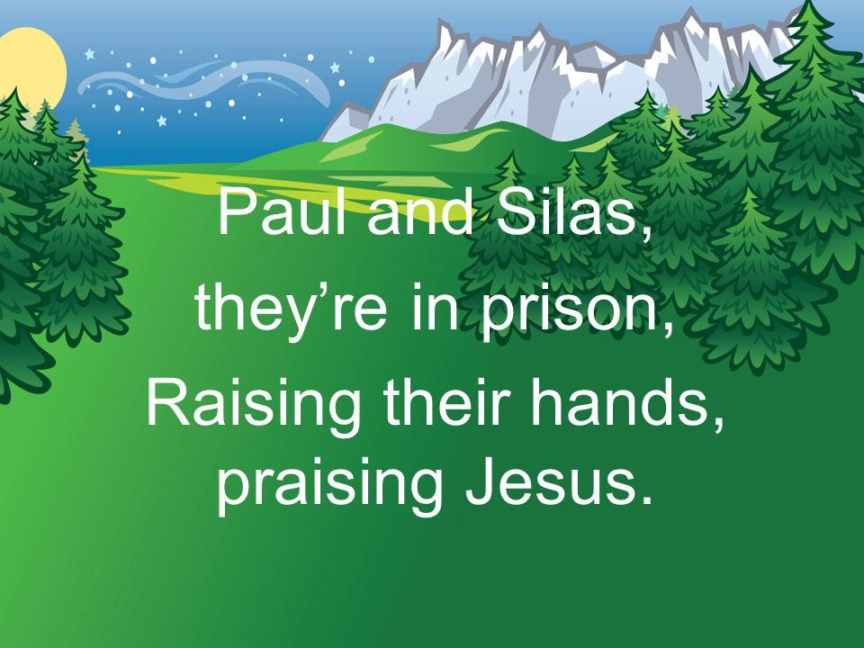 Raising their hands, praising Jesus.