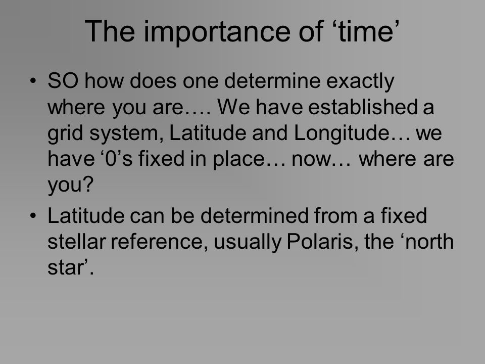 The importance of 'time'