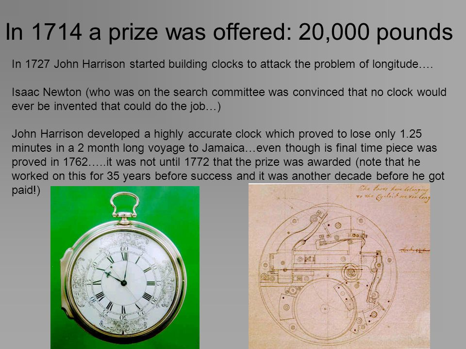 In 1714 a prize was offered: 20,000 pounds