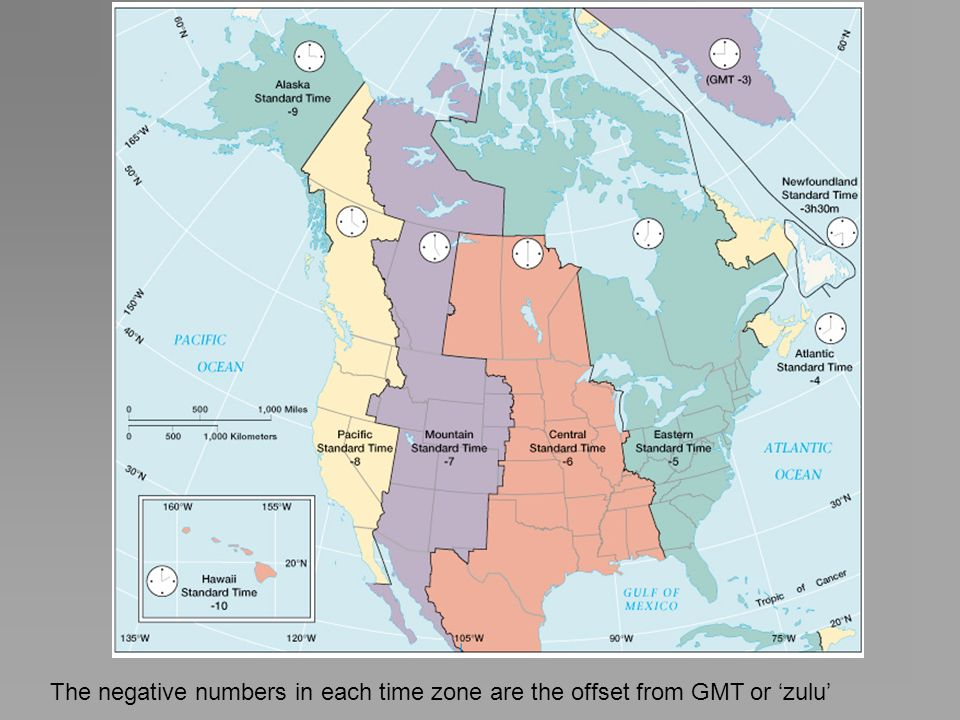 The negative numbers in each time zone are the offset from GMT or 'zulu'
