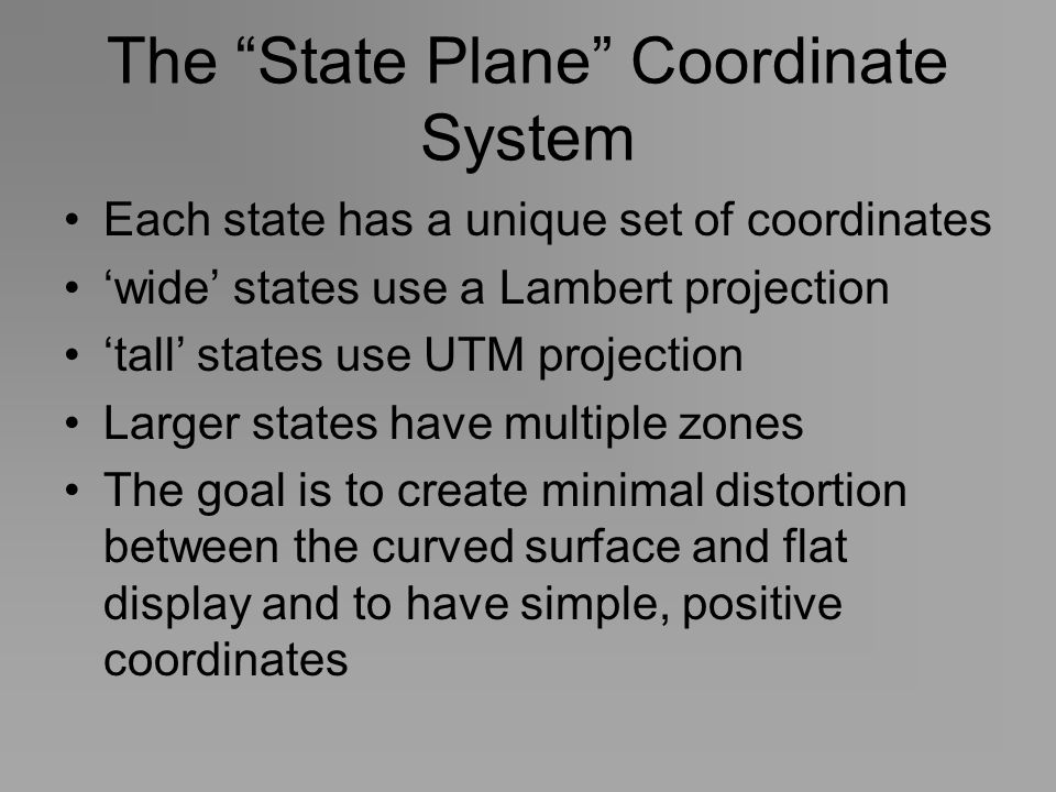 The State Plane Coordinate System