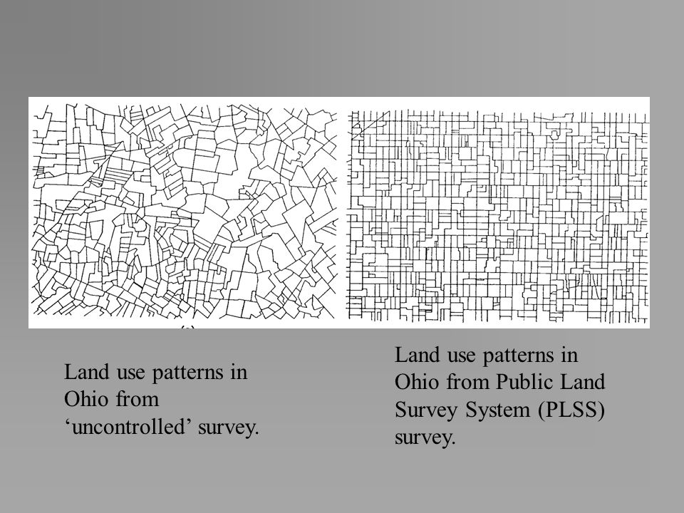 Land use patterns in Ohio from Public Land Survey System (PLSS) survey.