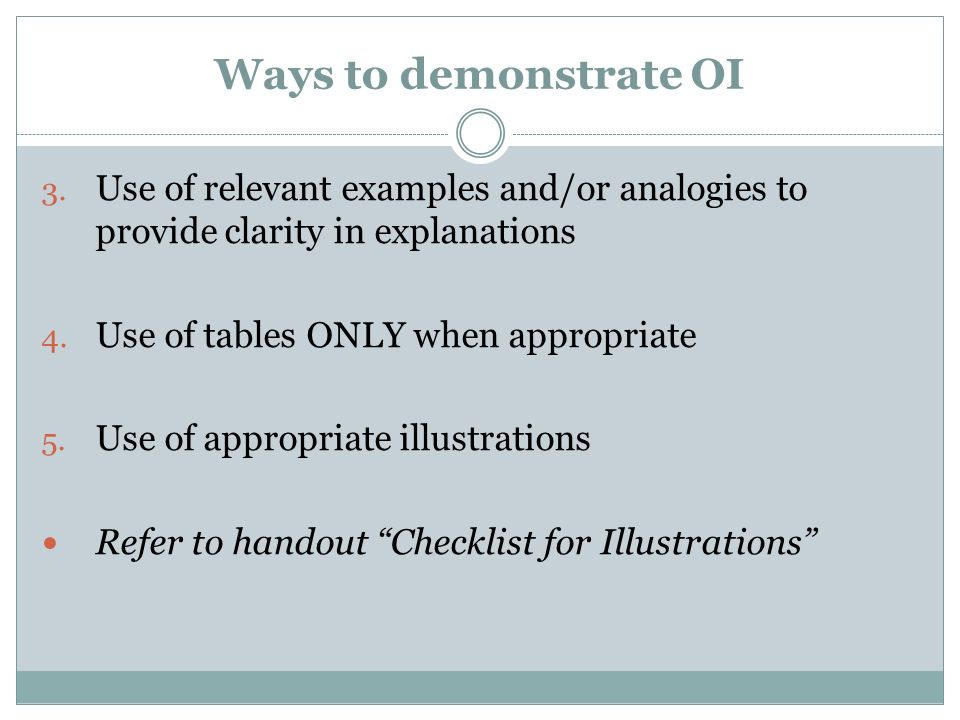 Ways to demonstrate OIUse of relevant examples and/or analogies to provide clarity in explanations.