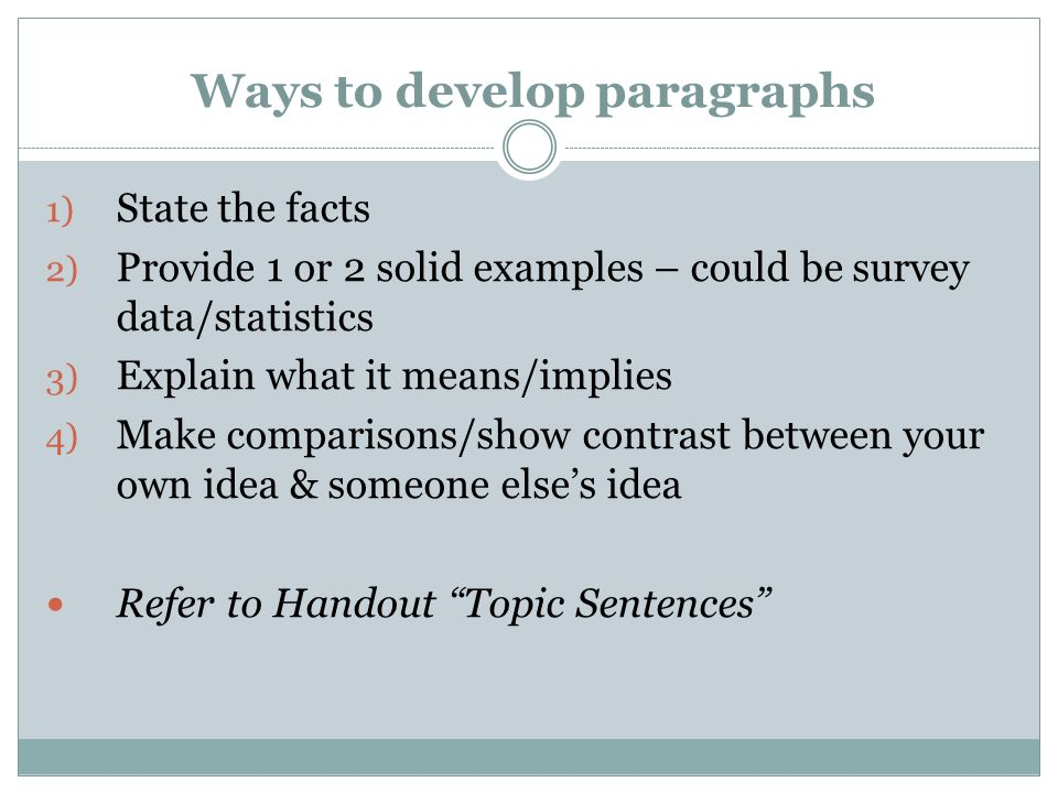 Ways to develop paragraphs