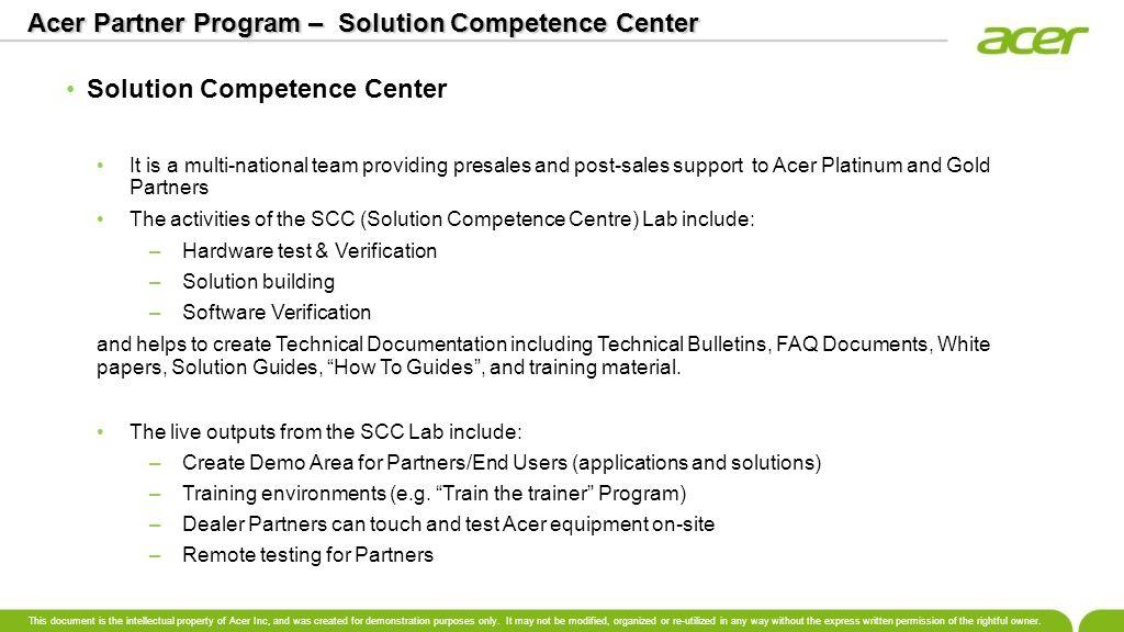 Acer Partner Program – Solution Competence Center