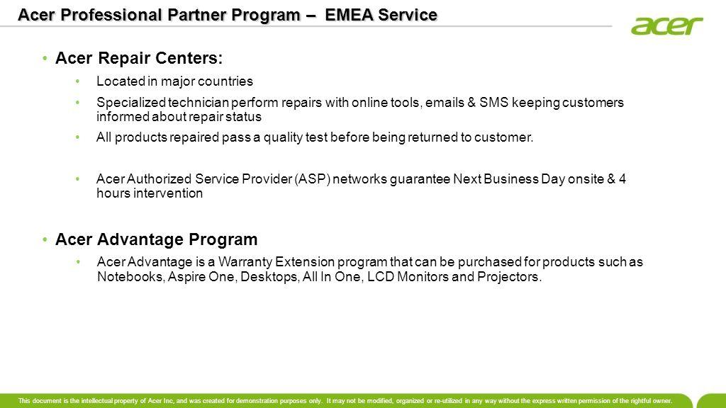 Acer Professional Partner Program – EMEA Service