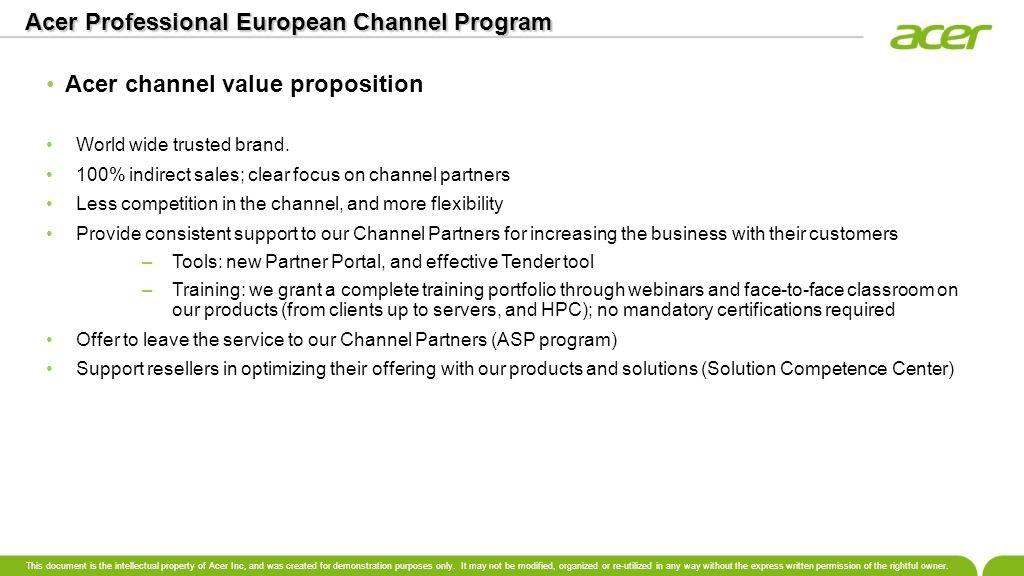 Acer Professional European Channel Program