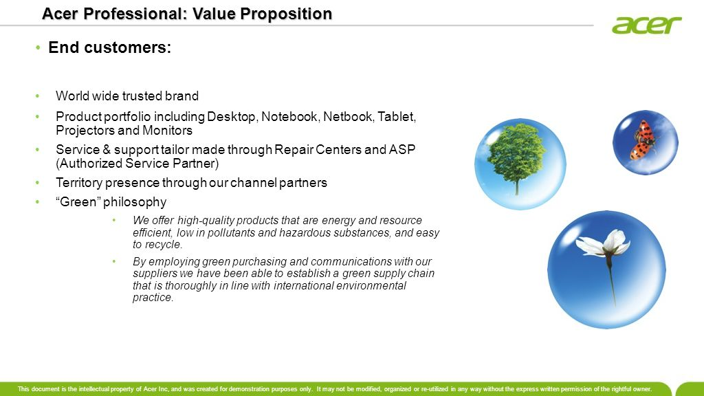 Acer Professional: Value Proposition