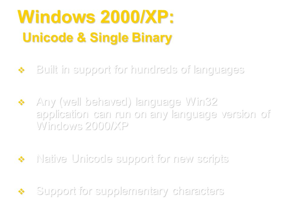 Windows 2000/XP: Unicode & Single Binary