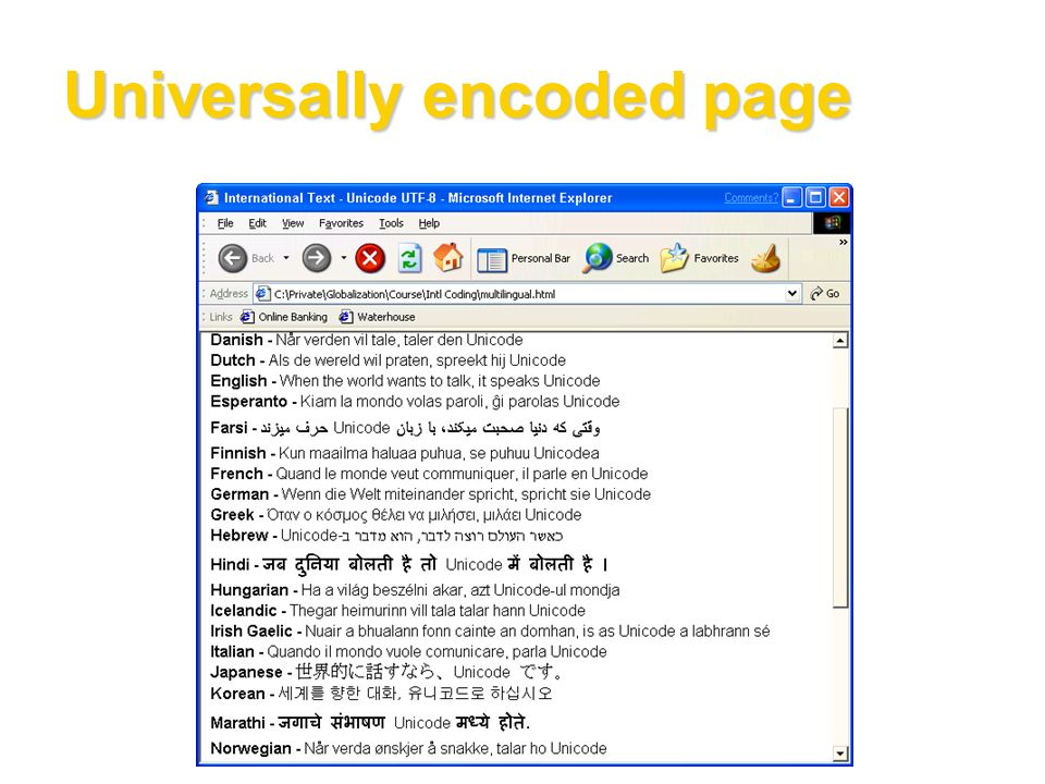 Universally encoded page
