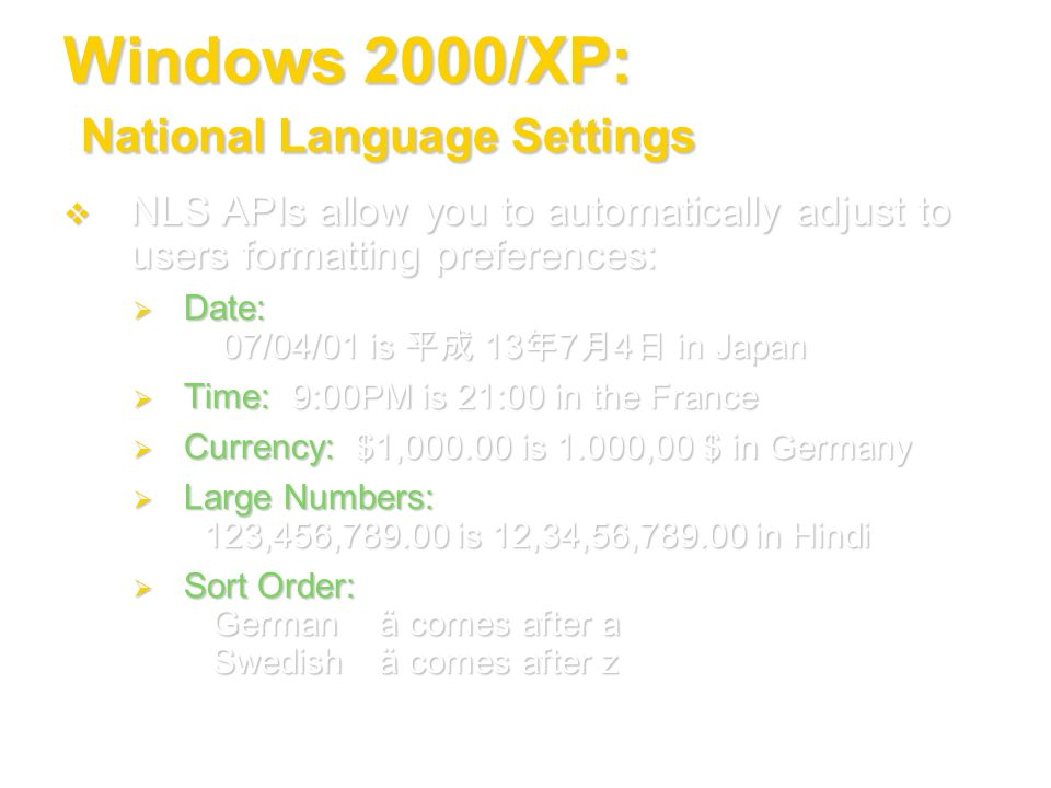 Windows 2000/XP: National Language Settings