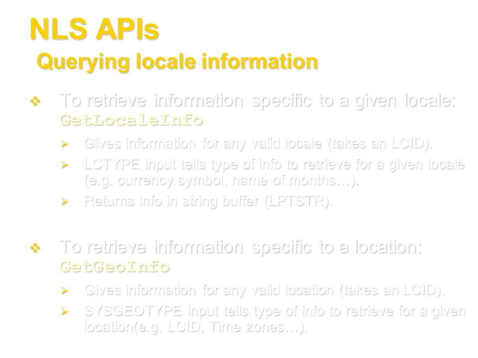 NLS APIs Querying locale information