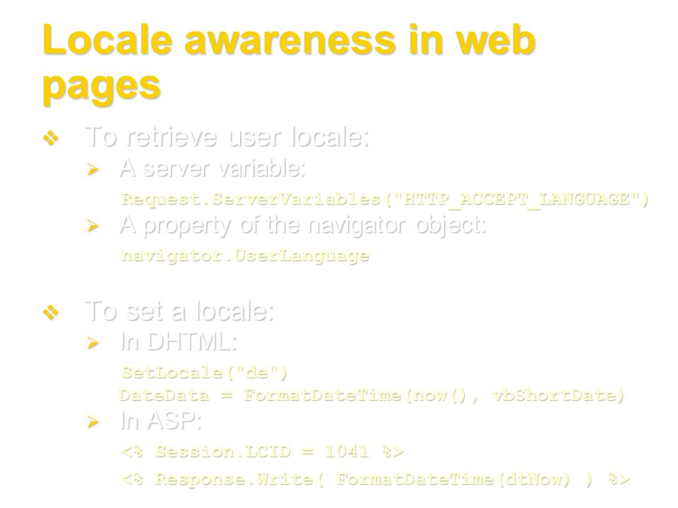 Locale awareness in web pages
