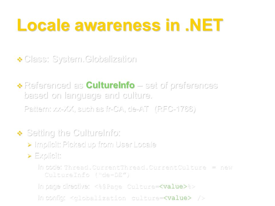 Locale awareness in .NET