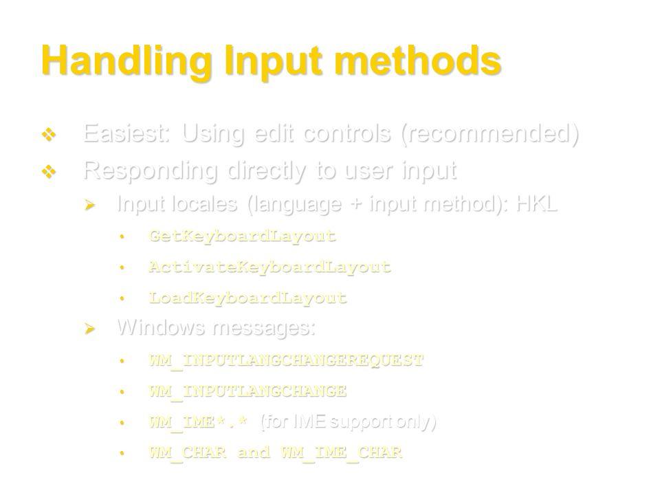Handling Input methods