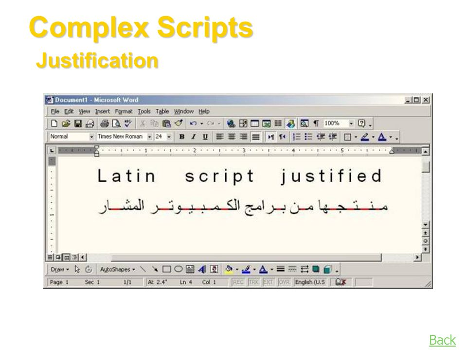 Complex Scripts Justification