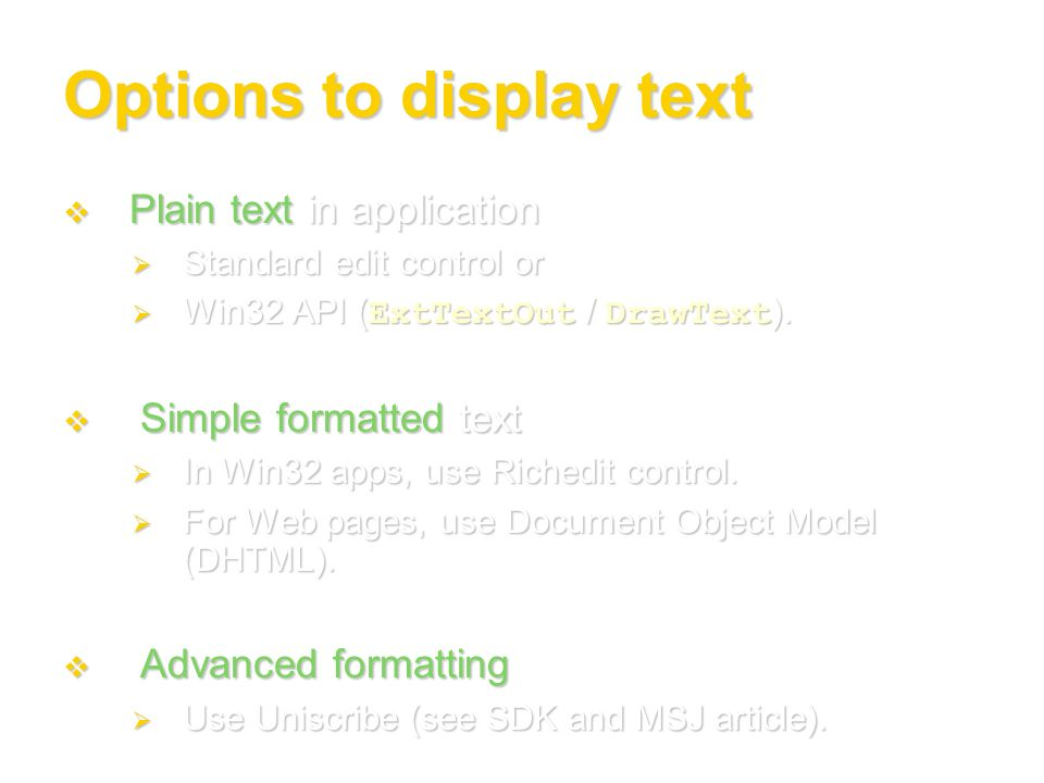 Options to display text