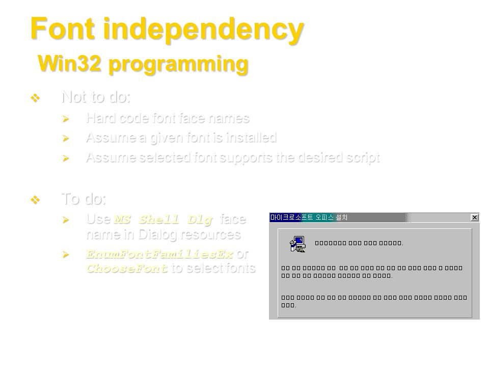 Font independency Win32 programming